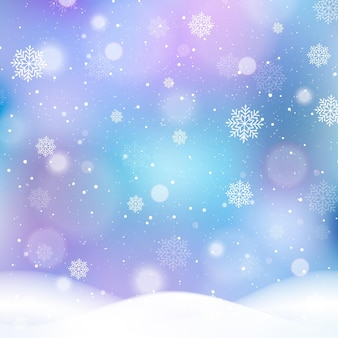 Blurred winter background with snowflakes