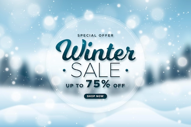 Blurred winter sale background