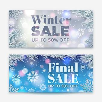Set di banner di vendita invernale offuscata