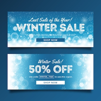 Blurred winter sale banners template