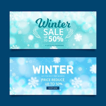 Blurred winter sale banners