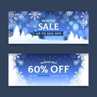 Размытые баннеры зимней распродажи