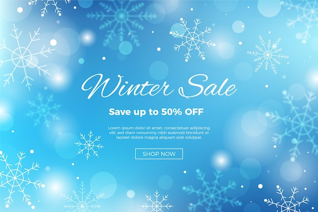 Blurred winter sale template
