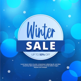 Blurred winter sale with special discount