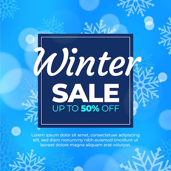 Blurred winter sale with special offer