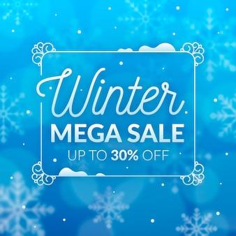 Blurred winter super sale in a frame