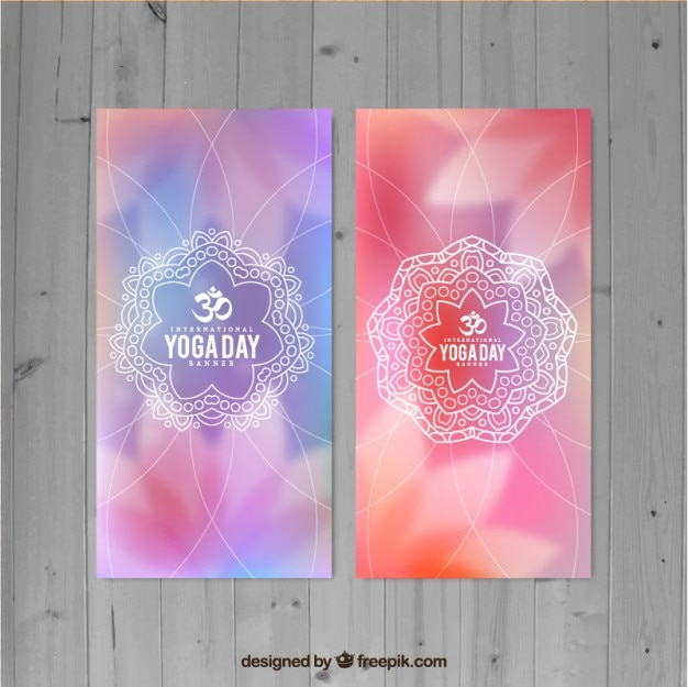 Blurred yoga banners with mandala