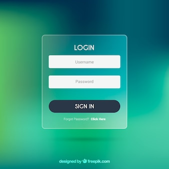 Blurry green login form