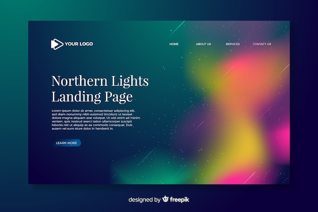 Blurry northern lights landing page