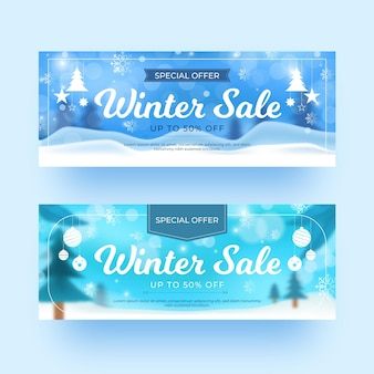 Blurry winter sale banners set