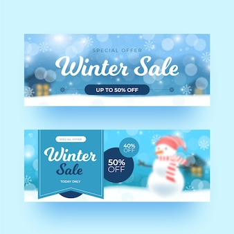 Blurry winter sale banners