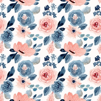 Blush blue floral watercolor seamless pattern