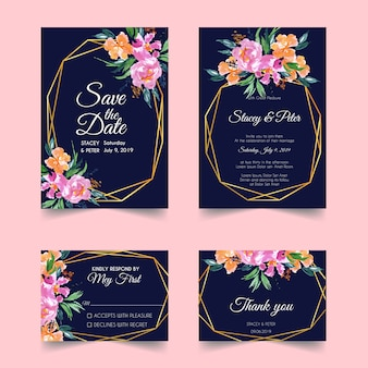 Blush floral geometric gold wedding invitation template