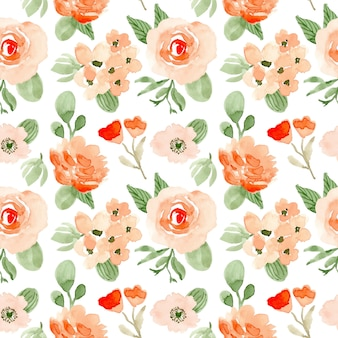 Blush green floral watercolor seamless pattern