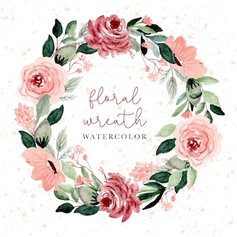Blush and green floral watercolor wreath