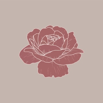赤面ピンクのバラのロゴデザイン、シンプルでスタイリングされたベクトルイラスト