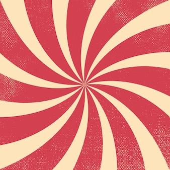 블러셔 빨간색과 흰색 서커스 복고풍 물결 모양의 버스트 배경
