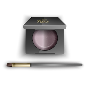 Blusher of brown color cosmetic for contour woman face makeup brush