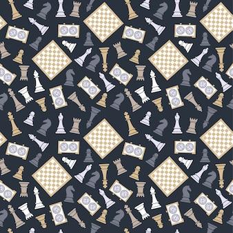 Бесшовный векторный рисунок с шахматами на темном bluu