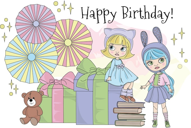 Blythe party color vector illustration set for scrapbooking