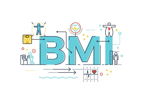Bmi : body mass index word lettering typography design illustration
