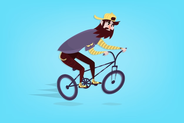 Bmx自転車のスタイリッシュなコミックヒップスター