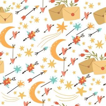 ベクターのシームレスパターン自由bo放に生きるスタイル、矢印と花。ロマンチックなメール。壁紙、デザイン、包装紙に使用