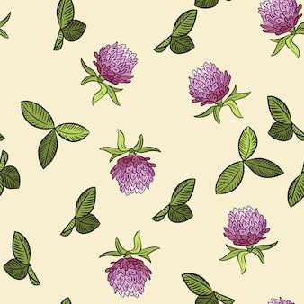 レッドクローバー植物自由bo放に生きるシームレスパターン。ビクトリア朝の花のコート居心地の良い壁紙印刷。