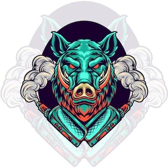 멧돼지 동물 vaping vape 저장소 그림