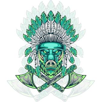 Boar head indian native
