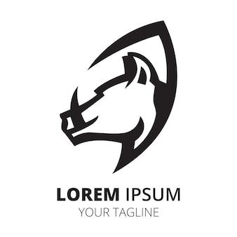 イノシシのヘッドラインのロゴデザインのミニマリストベクトル