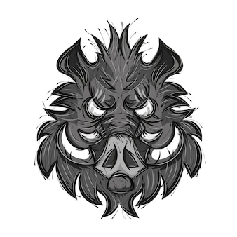 Boar head sketch vector illustration