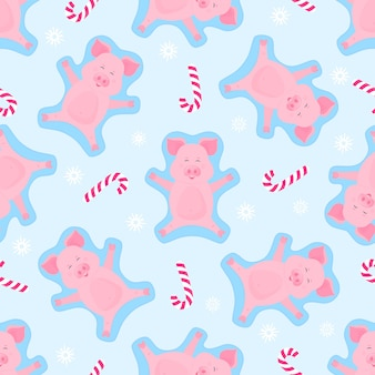 Boar making snow angel. piglet on winter vacation. cartoon pig and christmas candy seamless pattern.