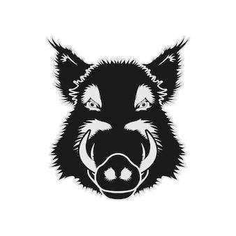 イノシシ豚豚顔頭ベクトルデザインのインスピレーション