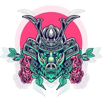 Boar samurai head with roses Premium Vector