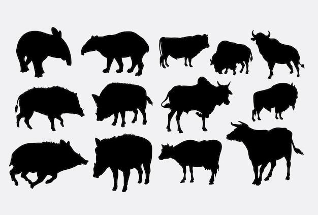 イノシシ、バフロ、動物のシルエット