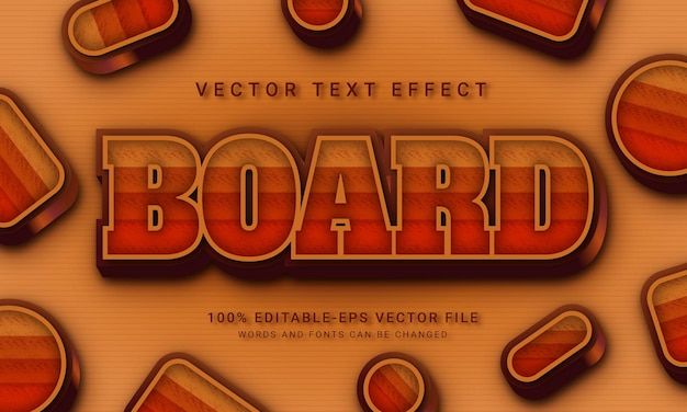 Board 3d text style effect themed natural and wood