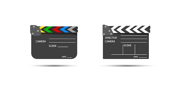 ビデオクリップシーンを開始するためのボードクラップ。ライト、カメラ、アクション!映画制作用のフィルムセットカチンコ。下見板張りのテキスト付きの映画。