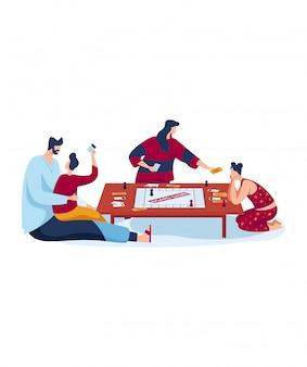 Доска для игры, семья весело проводит время, отец и мать любят разговаривать с детьми, дизайн в мультяшном стиле иллюстрации.