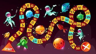 ボードゲーム。スペースボードゲーム戦略宇宙飛行士の漫画のテンプレート