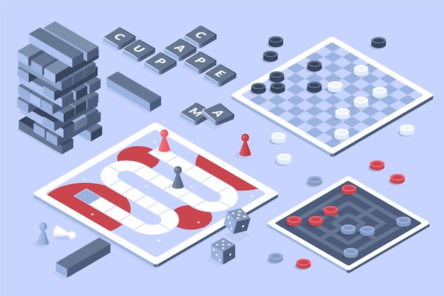 Board game collection isometric design