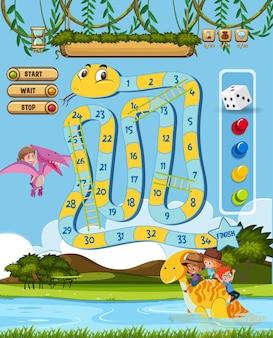 Настольная игра для детей в шаблоне стиля динозавра