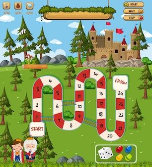 판타지 스타일 템플릿의 아이들을위한 보드 게임