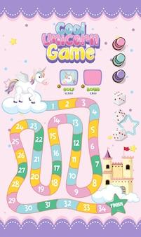 파스텔 유니콘 스타일 템플릿의 아이들을위한 보드 게임