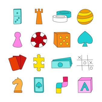 Иконки настольной игры в рисованной мультяшном стиле векторные иллюстрации
