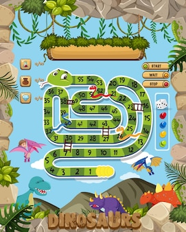 Board game for kids in dinosaur style template