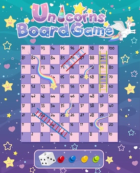 Board game for kids in unicorn pastel color style template