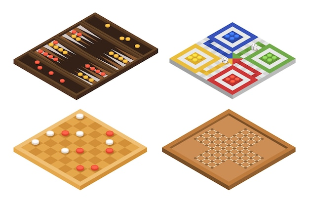 Design isometrico del pacchetto di giochi da tavolo