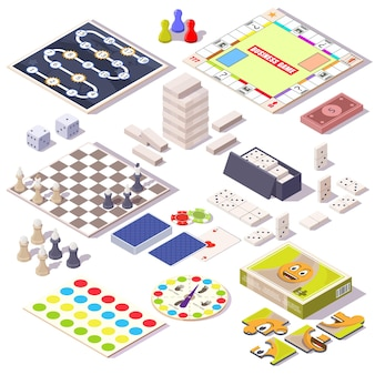 Board game set, flat vector isolated illustration. isometric family table games for adults and kids. monopoly, jenga, chess, dominoes, jigsaw puzzle, spinner, playing cards.