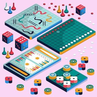 Набор настольных игр изометрический дизайн